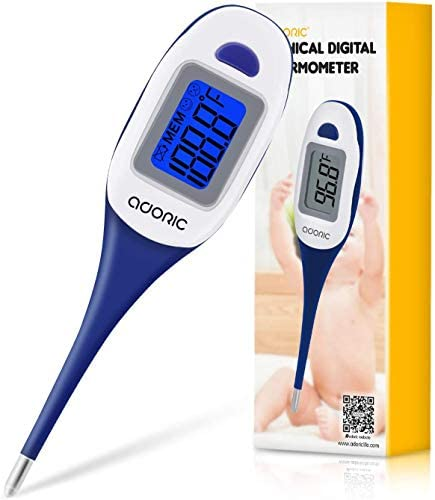 Digital Thermometer, Accurate Oral Thermometer with Flexible Tip Convert, Rectal Oral Underarm Fever Alarm Indicator for Kids Adults & Babies