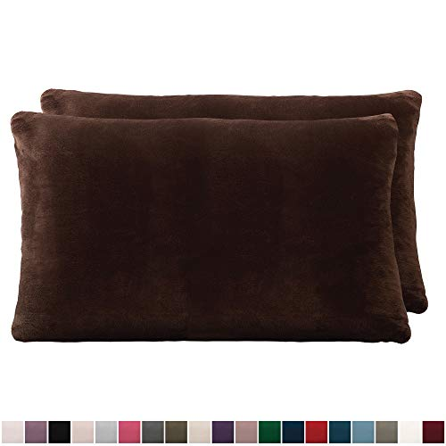 The Connecticut Home Company Original Velvet Pillowcases, Set of 2 Solid Decorative Case Sets, Throw Pillow Covers, Luxury Soft Cases for Bedroom, Living Room, Sofa, Couch, Bed, 12x20 inch, Brown (Living Room Throw Covers Pillow)
