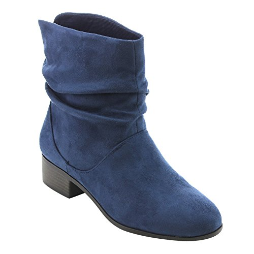 Soda FD58 Women's Slouchy Pull On Low Block Heel Ankle Booties, Color:BLUE, Size:7.5
