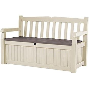 Keter Eden 70 Gal All Weather Outdoor Patio Storage Bench Deck Box ,  Beige/Brown