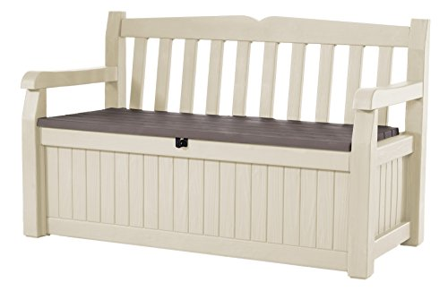 Keter Eden Bench Outdoor Storage Box Garden Furniture, 140 x 60 x 84 cm - Beige and Brown