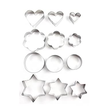 Home Value 12pc Metal Cookie Cutters: 3 Stars Shape, 3 Flowers Shape, 3 Round Shape, 3 Hearts Shape Model: (Home & Kitchen)