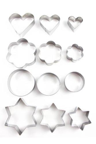 Home Value 12pc Metal Cookie Cutters: 3 Stars Shape, 3 Flowers Shape, 3 Round Shape, 3 Hearts Shape Model: (Home & Kitchen) Silver