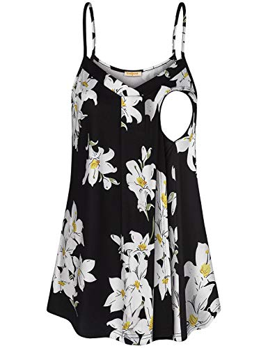 (Baikea Nursing Tops, Maternity Plus Size Double Layers Cami Discrete Feeding Lining Summer Clothes V Shape Neckline Easy Fitting Ruffled Blouses Floral Black XL)