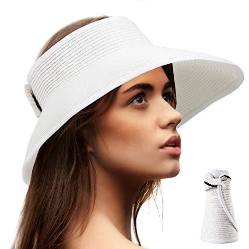 Beach Visors for Women Hat - White Sun Hats for Women Packable Straw Hat Floppy]()