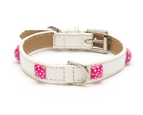 - LV Pyramid Dot Straight Dog Collar, Medium Size 11-14,White Patent with Pink Enamel Pyramids