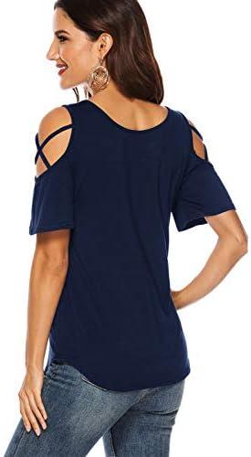 Florboom Damska-Bluse mit Schulterriemen, Knoten-Front, Sommer-T-Shirts: Odzież