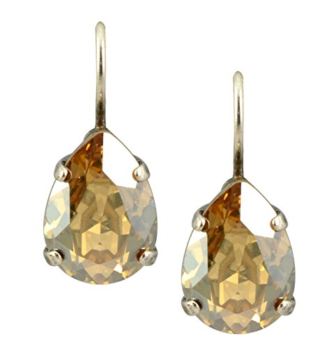 (Mariana Gold Plated Raindrop Crystal Drop Earrings in Dark Champagne)