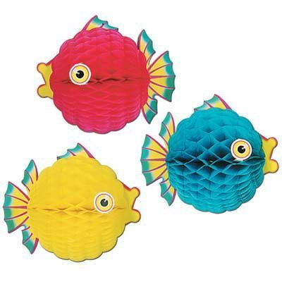 Tissue Bubble Fish - Beistle Tissue Bubble Fish 1234; Decorations Asst. (Each) - Party Supplies