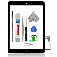 Digitizer for iPad AIR A1474 A1475 A1476 Black Touch Screen Display Glass assembly - Incl Home Button and flex + Camera Holder + Pre Installed  adhesive Stickers Tool kit