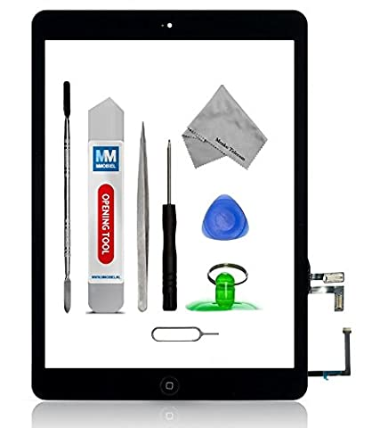 MMOBIEL Digitizer repair Kit for IPAD Air (Black) Touch Screen Front Display Assembly Incl Home Button flex Camera Holder and Pre Installed Adhesives with Tool kit