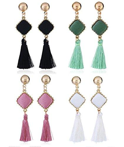 AZUMARAO Bohemian Thread Tassel Earrings - Set of 4 Pairs - Pink, White, Black and Green - Gold Plated Zinc Alloy - Charm Dangle Earrings
