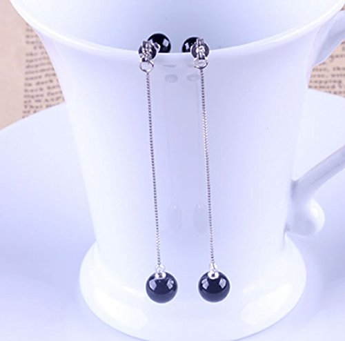 Women White Gold Plated Double Bead Long Linear Tassel Drop Earrings by Joyfulshine
