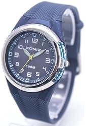100m Water Resistant Waterproof Ladies' Blue Rubber Strap Analog Luxury Sport Watch RL-002