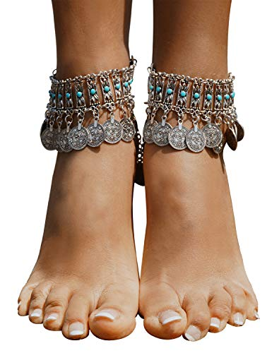 - Bienvenu Vintage Style Coin Tassels Beach Ankle Chain Barefoot Sandal Beach Foot Jewelry,Silver_Style 5