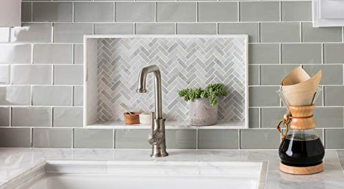 Crystalcor USA : 3x6 Brick Glass Subway Tile Backsplash Light Grey for Kitchen Bathroom Shower 12 in x 12 in x 8mm mesh Mounted (5 Square feet) by Crystalcor USA (Image #3)