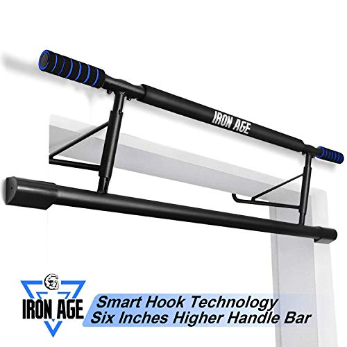 Iron Age Pull up Bar Doorway Portable No Crews Zero Assembly Free Standing Wall Mounted Indoor Workouts Smart Hook Technology US Patent Invention