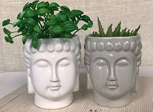 4.6Inch Ceramic Buddha Head Planter Pot Zen Succulent Plant Pot Pen Holder Pencil Cup Brush Holder Pot Remote Controller Holder Desk Organizer Home Office Room Decor Multi-use(White)