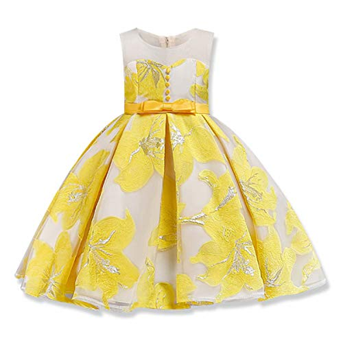AYOMIS Girls 3D Flower Princess Party Formal Dresses Elegant Pageant Wedding Bridesmaid Prom Christmas Gown (Yellow,120) -