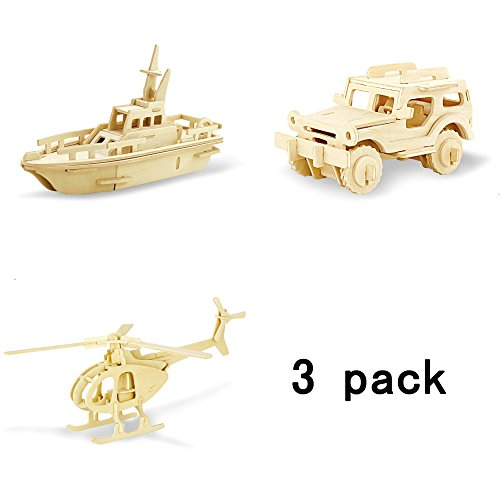 3 Pack 3D Wooden Puzzles Vehicle DIY Assembly Model Adult Craft DIY Brain Teaser Games Engineering Toys