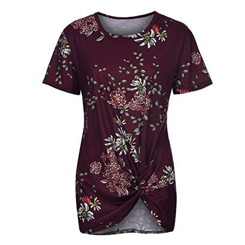 Women T-Shirts Plus Size Blouses Casual Floral Print O-Neckline Shirt Knot Short Sleeve Tops Memela Clothes (Red, L)