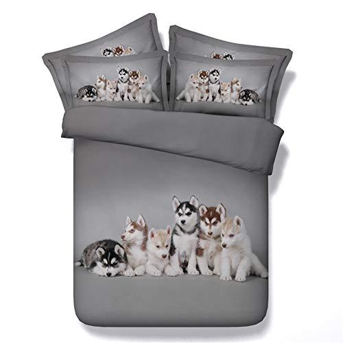(Goldeny JF-107 3pcs Husky Babies 3D Digital Animal Print Bed Sheet Set Dogs Duvet Cover Set Grey Bedding Sets King Size (Full))
