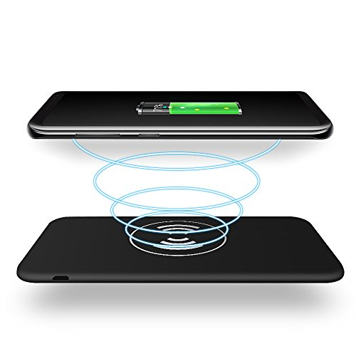 Wireless Charger Power Bank 10000mAh Thin External Qi Battery Pad for iPhone X, iPhone 8, 8 Plus, iPad, Samsung Galaxy S8, Note 8 (Black) by Klutch Goods