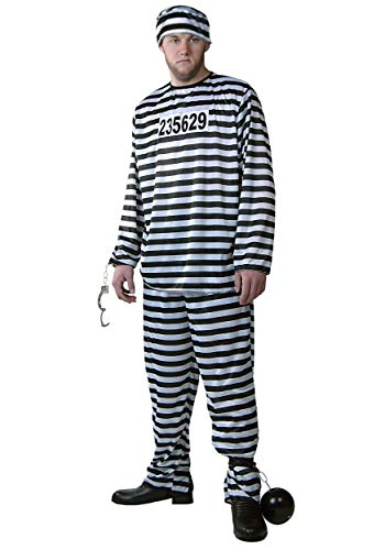 Men's Plus Size Prisoner Costume Striped Prison Jail Suit 2X Black -