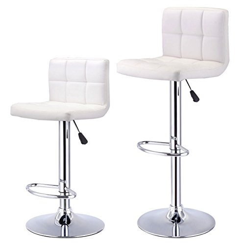 Set of 2-Bar Stools Durable PU Leather Pneumatic Adjustable 360 Degree Swivel Pub Chairs New / White #1009 (Fl Naples Cushions Outdoor Furniture)