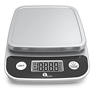 1byone Digital Kitchen Scale Precise Cooking Scale and Baking Scale, Multifunction with Range From 0.04oz (1g) to 11lbs, Elegant Black
