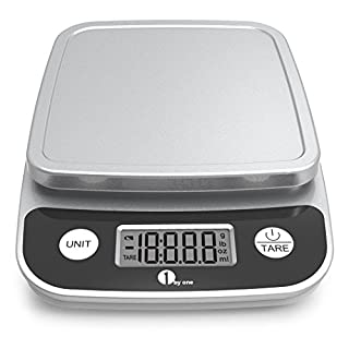1byone Digital Kitchen Scale Precise Cooking Scale and Baking Scale, Multifunction with Range from 0.04oz (1g) to 11lbs, Elegant Black …