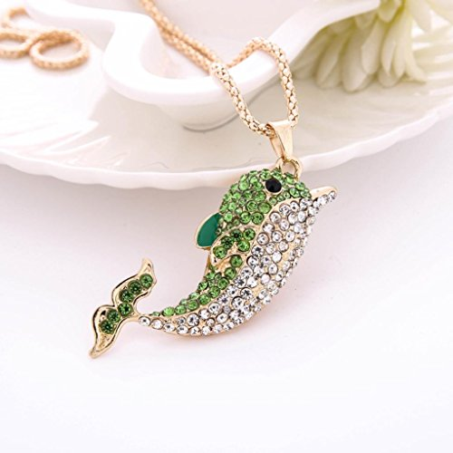 Sinwo Women Charm Colorful Crystal Dolphin Cute Pendant Sweater Necklace Gift! (Green)