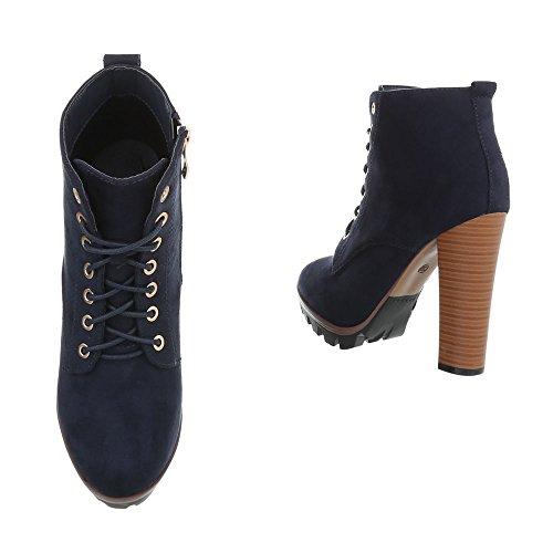Ital-Design High Heel Stiefeletten Damenschuhe High Heel Stiefeletten Pfennig-/Stilettoabsatz High Heels Reißverschluss Stiefeletten Dunkelblau 118-1-1