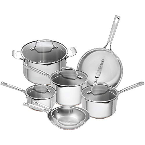 Emeril Lagasse 12 Piece Stainless Steel Cookware Set With Copper Core, Induction Compatible, Dishwasher Safe, Silver (Renewed)