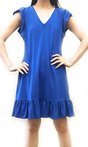 August Silk Women's Ruffle Sleeve & Hem Knit Sneaker Dress (Blue, Large)