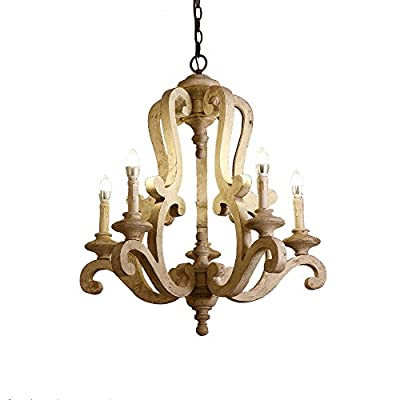 Lovedima Cottage Style Distressed Wood 5-Light Candelabra Chandelier with Scrolled Arms & Rust Canopy