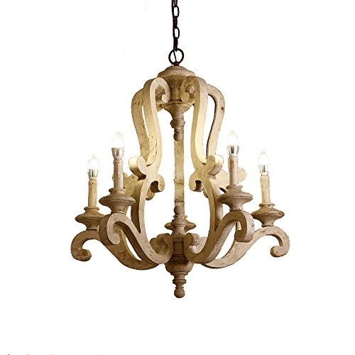 Cheap Lovedima Cottage Style Distressed Wood 5-Light Candelabra Chandelier with Scrolled Arms & Rust Canopy (Distressed White)