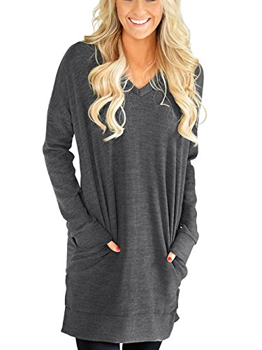 LERUCCI Womens Casual Long Sleeves Solid V-Neck Tunics Tops with Pockets Dark Grey Medium