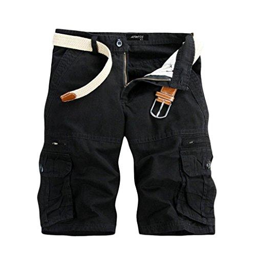 Pervobs Men Shorts, Big Promotion! Mens Cargo Shorts Casual Pure Color Outdoors Mid Waist Pocket Beach Work Shorts Pant Trouser (36, Black) -