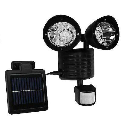 Solar Powered Motion Sensor Lights 22 LED Garage Outdoor Security Flood Spot Light Black