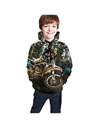 Unisex Sweater Kids 3D Print Motocross Sport Motorcycle Pullover Hoodie Sweatshirts Pocket