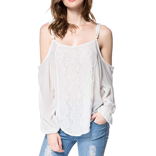 Lmx+3f Fashion Womens Lace Splicing Camisole Shirt Pure Color Long Sleeves Shirt Blouse Cool Soft Comfy Tops White ()