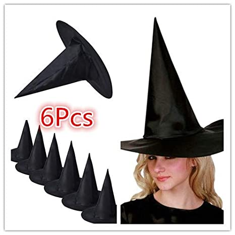 6PCS Adult Womens Black Witch Hat For Halloween Prop Costume Accessory Girl Cap