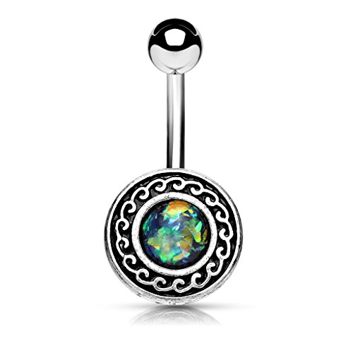 Antique Silver Plated Opal Glitter Shield Belly Button Ring in 316L Surgical Steel (Dark (Navel Shield)