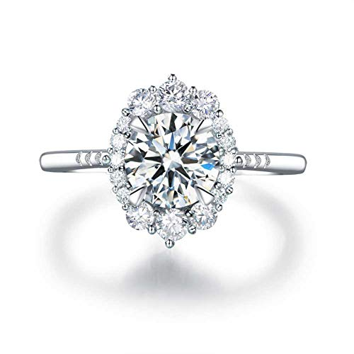 LESFD 2 Carat Round Cut Cubic Zirconia CZ Promise Engagement Ring (8)