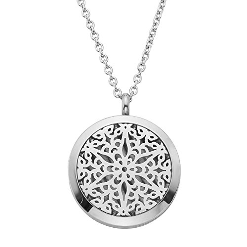 Zysta 30MM 316L Stainless Steel Hollow Round Living Floating Charm Memory Locket Photo Frame Pendant Necklace, 24 Inch (Frame Pendant Necklace)