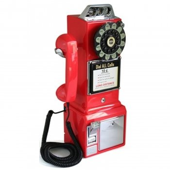 1950 Retro Classic Pay Phone Telephone- Red by US BASIC