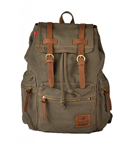 Tom Clovers Vintage Men Casual Canvas Leather Backpack Rucksack Bookbag Satchel Hiking Bag Shool Bag Army Green