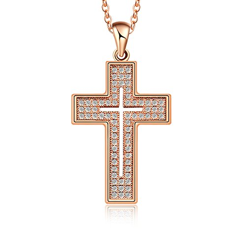 AKVODE 18K Gold Plated AAA Cubic Zirconia Cross Necklace for Women Jewelry (Rose Gold)