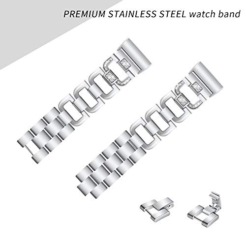 Tuscom Charge 3 Stainless Steel Bands for Women Men, Metal Replacement Strap Bling Diamond Rhinestone Bracelet Bangle Watch Band Adjustable Wristband for Fitbit Charger 3 Accessories (Silver)
